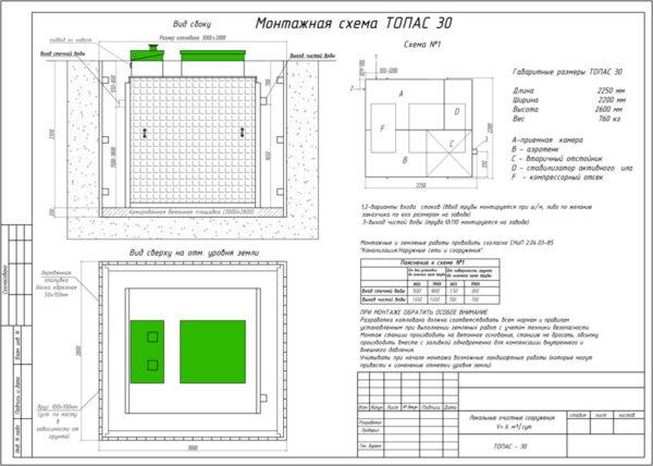 Монтажная схема септика Монтаж 30 (кликабельно)