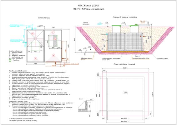 Монтажная схема септика Юнилос Астра 150 Лонг