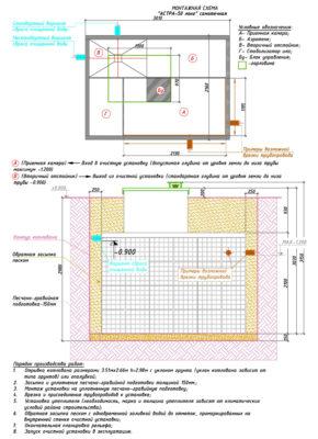 Монтажная схема септика ЮНИЛОС АСТРА 50 Лонг