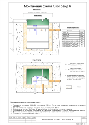 Монтажная схема септика Эко Гранд 6 Универсал